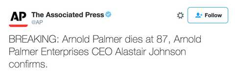 Arnold Palmer dies at 87, Arnold Palmer Enterprises CEO Alastair Johnson confirms