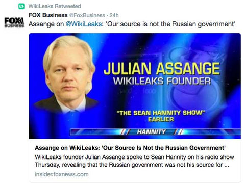 Assange on @WikiLeaks: 'Our source is not the Russian government'