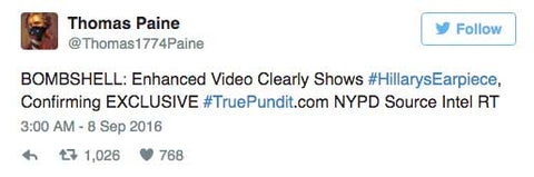 BOMBSHELL: Enhanced Video Clearly Shows #HillarysEarpiece, Confirming EXCLUSIVE #TruePundit.com NYPD Source Intel RT