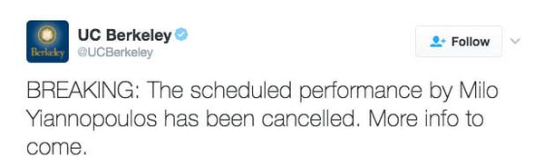 BREAKING: The scheduled performance by Milo Yiannopoulos has been cancelled. More info to come.