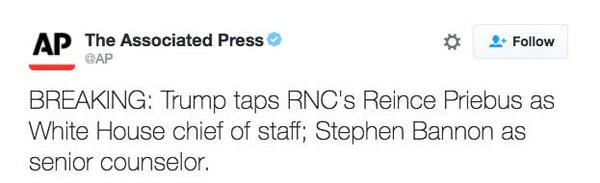 BREAKING: Trump taps RNC's Reince Priebus as White House chief of staff; Stephen Bannon as senior counselor.