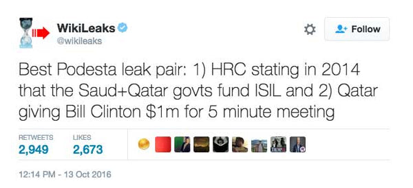 Best Podesta leak pair: 1) HRC stating in 2014 that the Saud+Qatar govts fund ISIL and 2) Qatar giving Bill Clinton $1m for 5 minute meeting