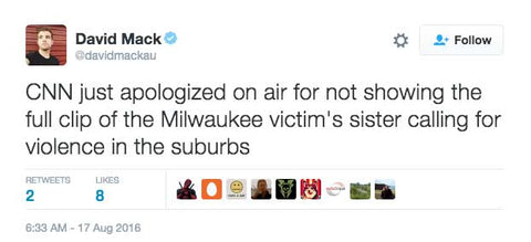 CNN just apologized on air for not showing the full clip of the Milwaukee victim's sister calling for violence in the suburbs
