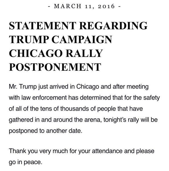 Trump Releases Statement About Cancelled Chicago Rally