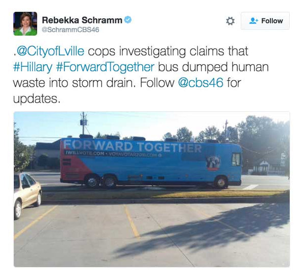 @CityofLville cops investigating claims that #Hillary #ForwardTogether bus dumped human waste into storm drain.