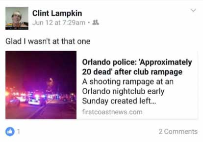 Proof Clinton Lampkin facebook post lying about being victim of ISIS mass shooting at Orlando's Pulse nightclub?