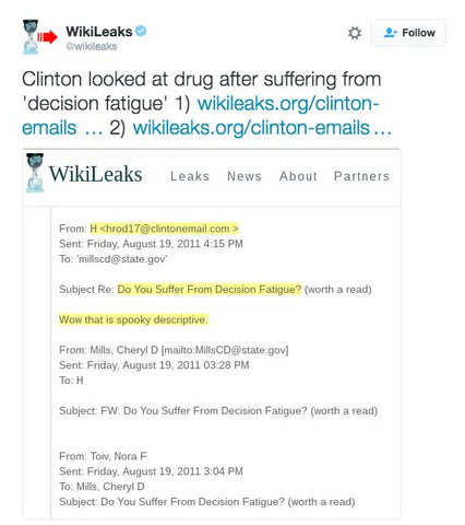 WikiLeaks: Hillary Clinton Looked At Drug After Suffering From 'Decision Fatigue'