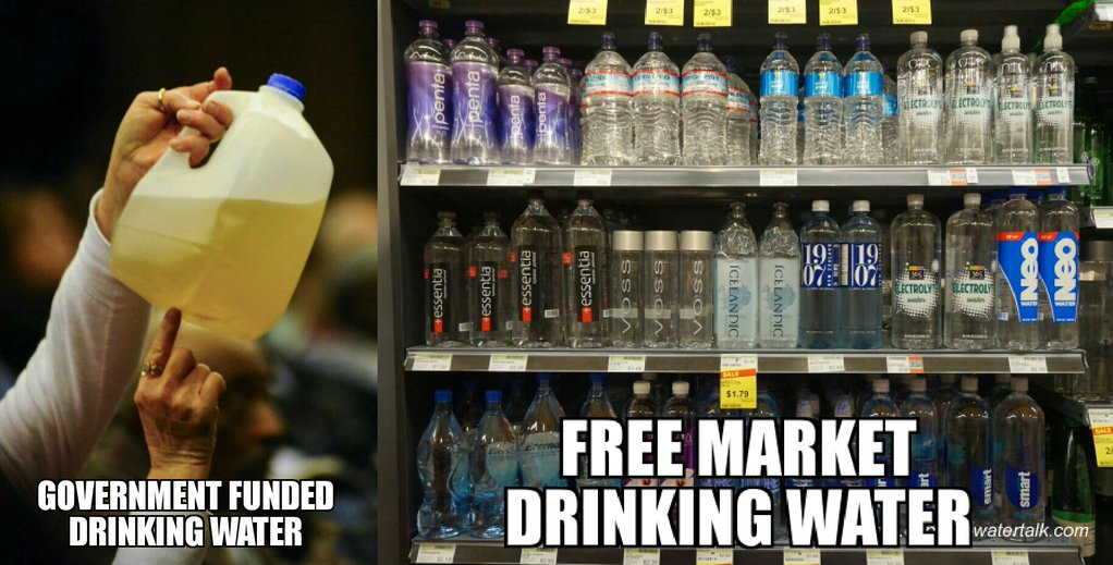 Government Water VS. Free Market Water (Meme)