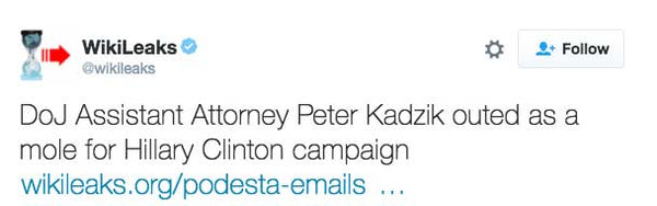 DoJ Assistant Attorney Peter Kadzik outed as a mole for Hillary Clinton campaign