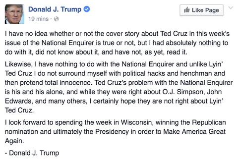 Donad Trump Responds To Alleged Ted Cruz Sex Scandal