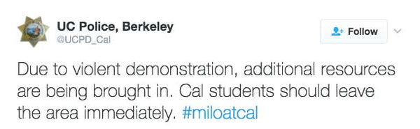Due to violent demonstration, additional resources are being brought in. Cal students should leave the area immediately.