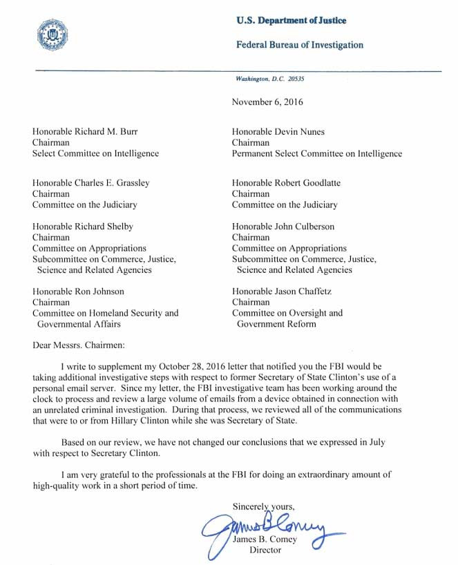 FBI Director James Comey Has Cleared Hillary Clinton After New Email Investigation (FULL LETTER)