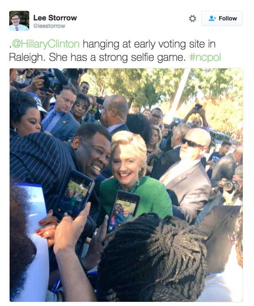 @HillaryClinton hanging at early voting site in Raleigh. She has a strong selfie game. #ncpol