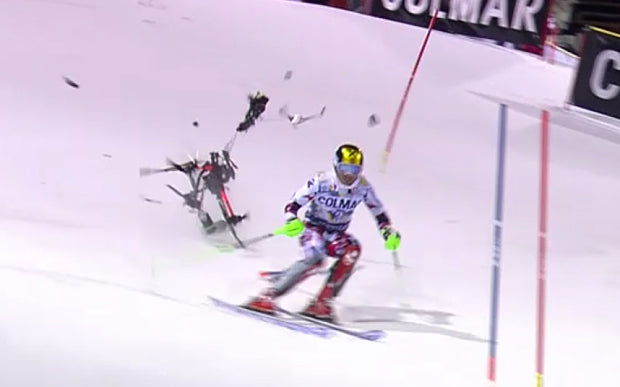 Drone Almost Knocks Out World Champion Skier (VIDEO)