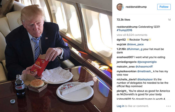 How Donald Trump Celebrated Reaching 1237 Delegates McDonalds Big Mac French Fries