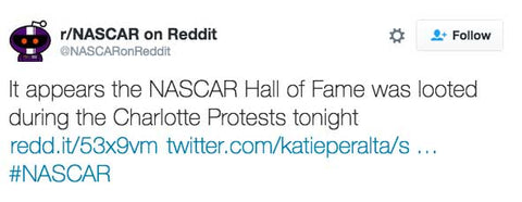 It appears the NASCAR Hall of Fame was looted during the Charlotte Protests tonight