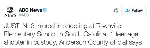 JUST IN: 3 injured in shooting at Townville Elementary School in South Carolina; 1 teenage shooter in custody, Anderson County official says
