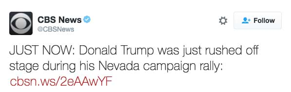 JUST NOW: Donald Trump was just rushed off stage during his Nevada campaign rally: