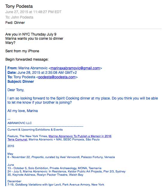 "WikiLeaks: Leaked email reveals Hillary Clinton's campaign chair attended disturbing ""Spirit Cooking"" dinner last year?"