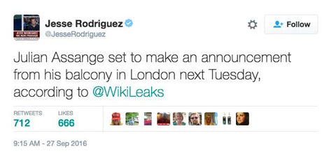 Julian Assange set to make an announcement from his balcony in London next Tuesday, according to @WikiLeaks