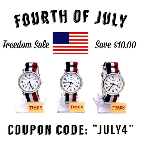 Custom Red White and Blue Timex Watch - Fourth of July Sale