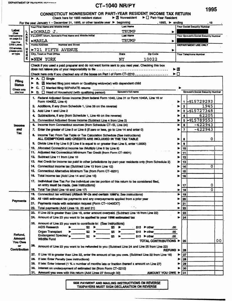 Page 1: Donald Trump's Leaked Tax Return