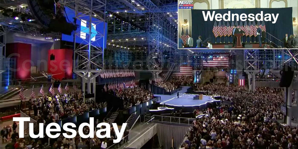 Hillary Clinton's election night stage vs concession speech stage