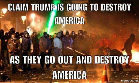 MEME: Liberals claim Trump is going to destroy America as they go out and destroy America
