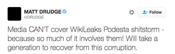 Media CAN'T cover WikiLeaks Podesta shitstorm - because so much of it involves them! Will take a generation to recover from this corruption.