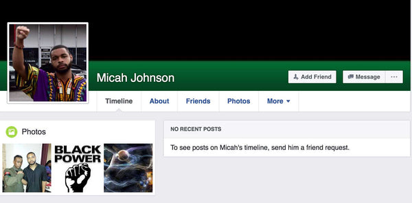 Micah Johnson's Facebook Page Has Been Deleted