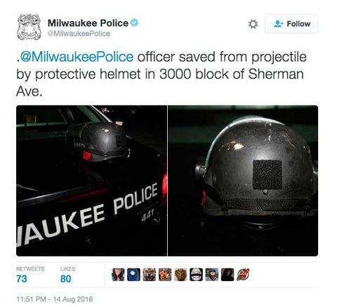 @MilwaukeePolice officer saved from projectile by protective helmet in 3000 block of Sherman Ave.
