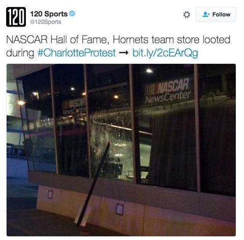 NASCAR Hall of Fame, Hornets team store looted