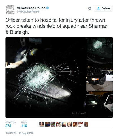 Officer taken to hospital for injury after thrown rock breaks windshield of squad near Sherman & Burleigh.