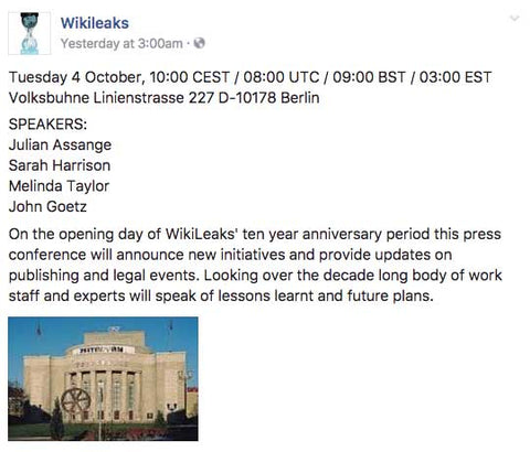 On the opening day of WikiLeaks' ten year anniversary period this press conference will announce new initiatives and provide updates on publishing and legal events.