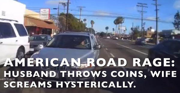 Road Rage Caught On Camera... Husband and Wife Throw Coins At Car
