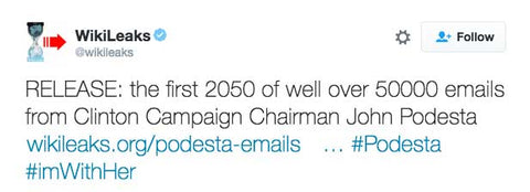 RELEASE: the first 2050 of well over 50000 emails from Clinton Campaign Chairman John Podesta