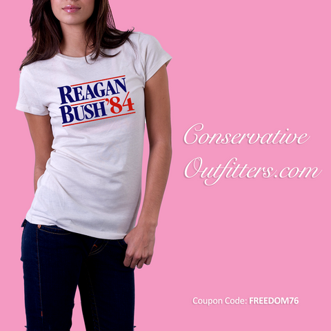Official Reagan Bush 1984 Presidential Campaign Shirt