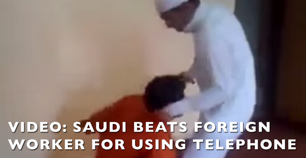 SHOCKING: Video Shows Saudi Beating Foreign Worker For Using Telephone