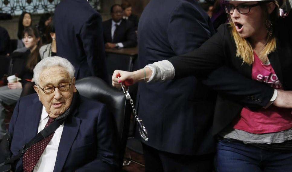 VIDEO: Code Pink Tries to Arrest 91-Year-Old Kissinger for 'War Crimes'...