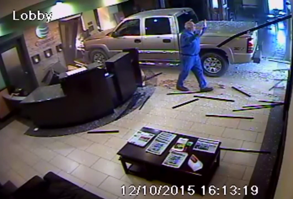 Disgruntled Guest Drives GMC Truck Into Hotel Lobby (VIDEO)
