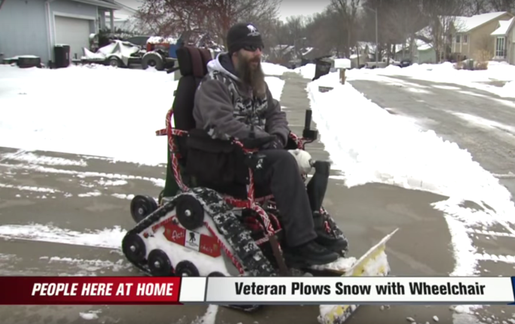 This War Veteran Plows Entire Neighborhood With His Wheelchair