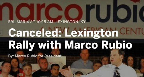 Marco Rubio quietly cancels rallies in Kentucky and Louisiana