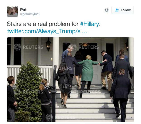 Stairs are a real problem for Hillary Clinton