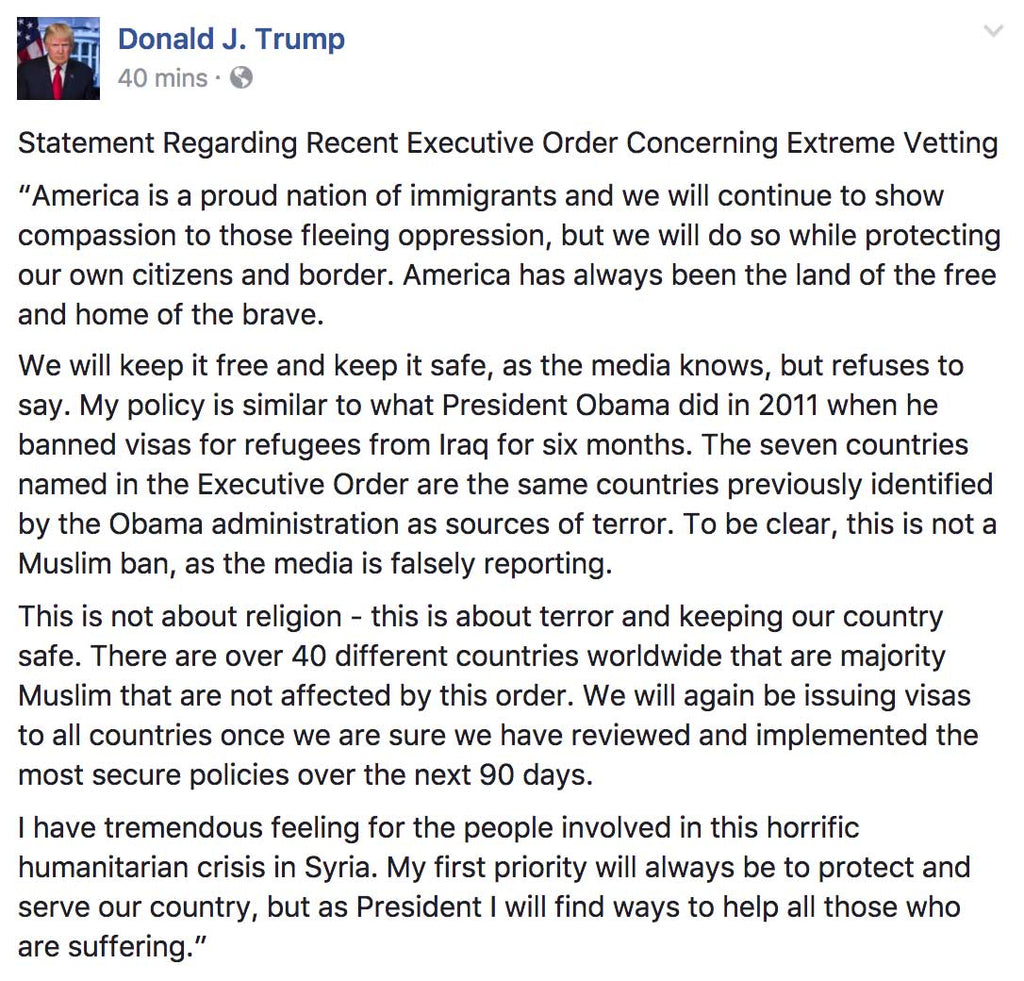 President Trump Statement Regarding Recent Executive Order