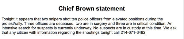 Statement from Chief Brown