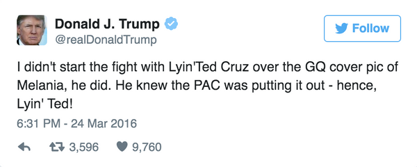 Ted Cruz Donald Trump is a Sniveling Coward tweet