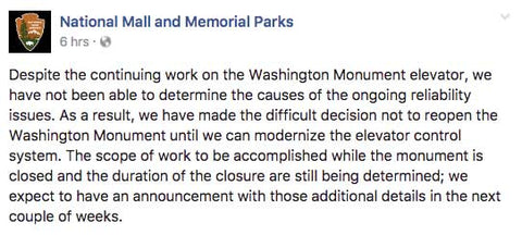 The Washington Monument is permanently CLOSED until further notice