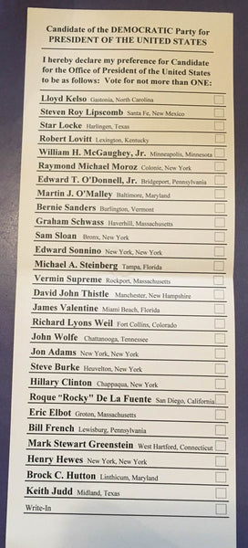The 2016 New Hampshire Democratic Primary Ballot