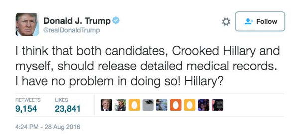 Trump Challenges Hillary To Release Medical Release