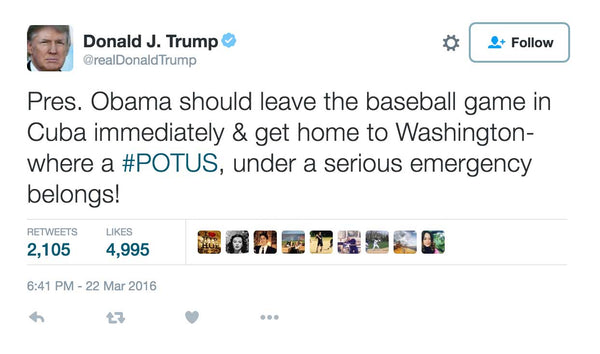 Trump Blasts President Obama For Baseball Game In Cuba During Brussels Terror Crisis
